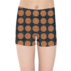 Circles1 Black Marble & Rusted Metal (r) Kids Sports Shorts