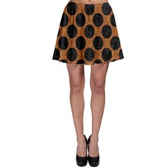 Circles2 Black Marble & Rusted Metal Skater Skirt