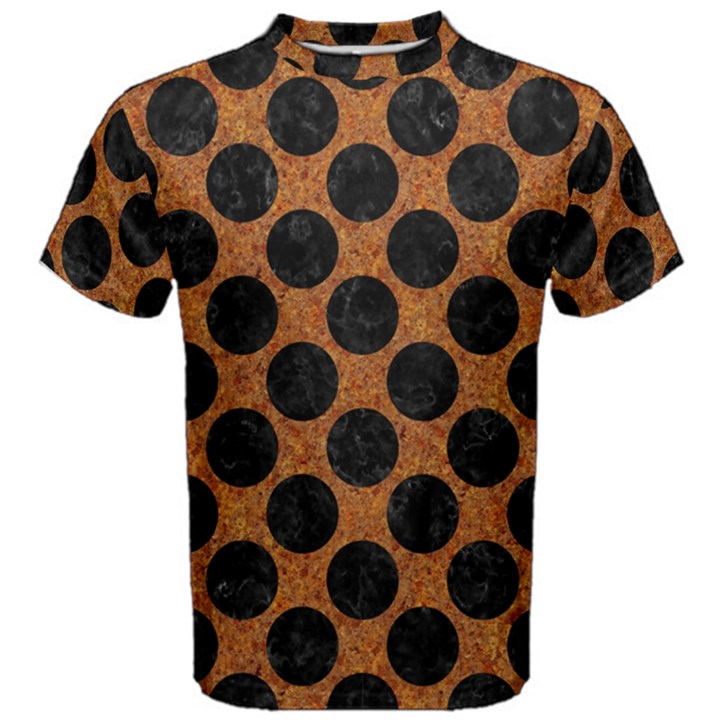 CIRCLES2 BLACK MARBLE & RUSTED METAL Men s Cotton Tee