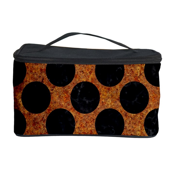 CIRCLES2 BLACK MARBLE & RUSTED METAL Cosmetic Storage Case