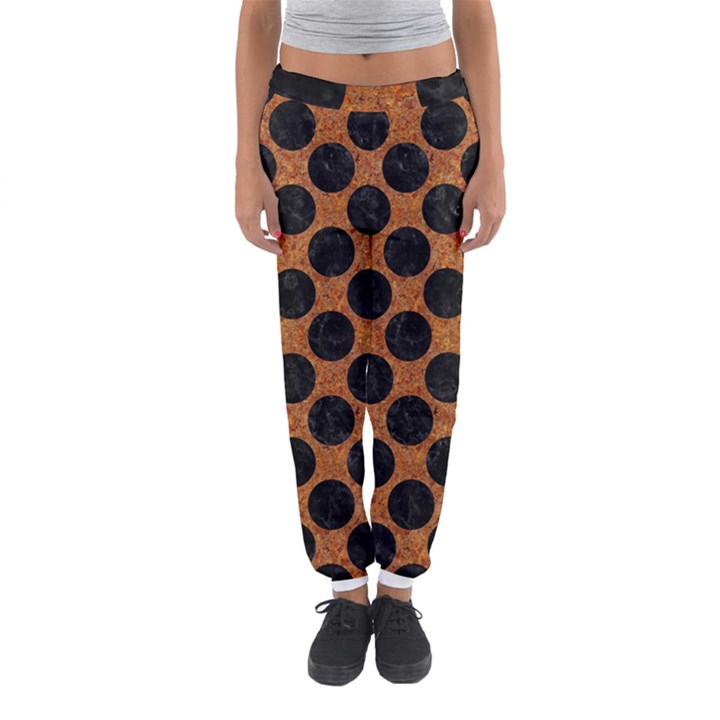 CIRCLES2 BLACK MARBLE & RUSTED METAL Women s Jogger Sweatpants