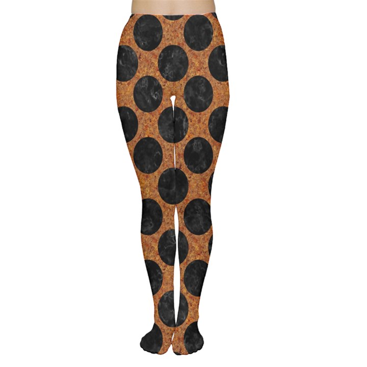 CIRCLES2 BLACK MARBLE & RUSTED METAL Women s Tights