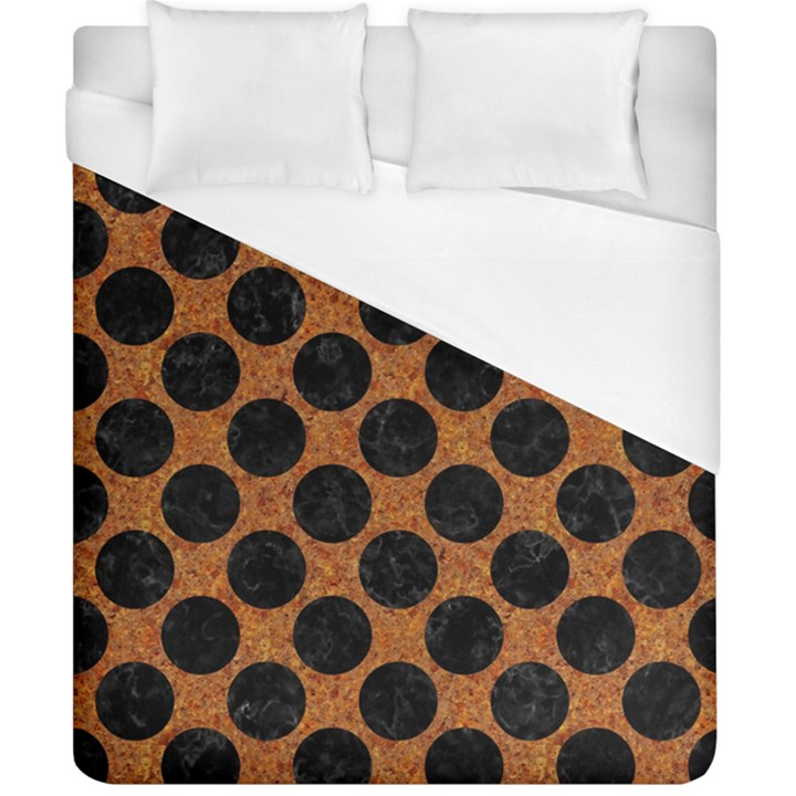 CIRCLES2 BLACK MARBLE & RUSTED METAL Duvet Cover (California King Size)