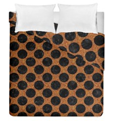 Circles2 Black Marble & Rusted Metal Duvet Cover Double Side (queen Size)