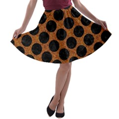 Circles2 Black Marble & Rusted Metal A Line Skater Skirt