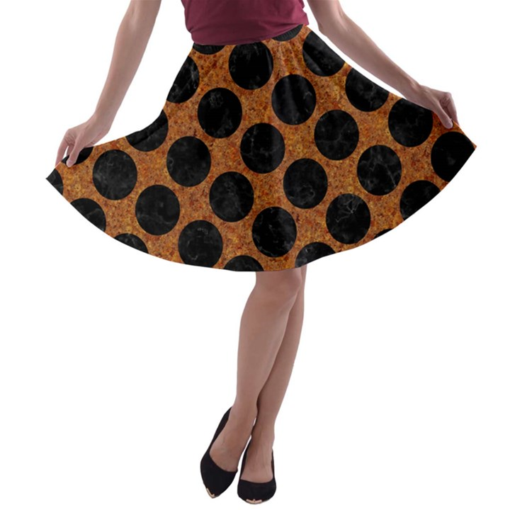 CIRCLES2 BLACK MARBLE & RUSTED METAL A-line Skater Skirt