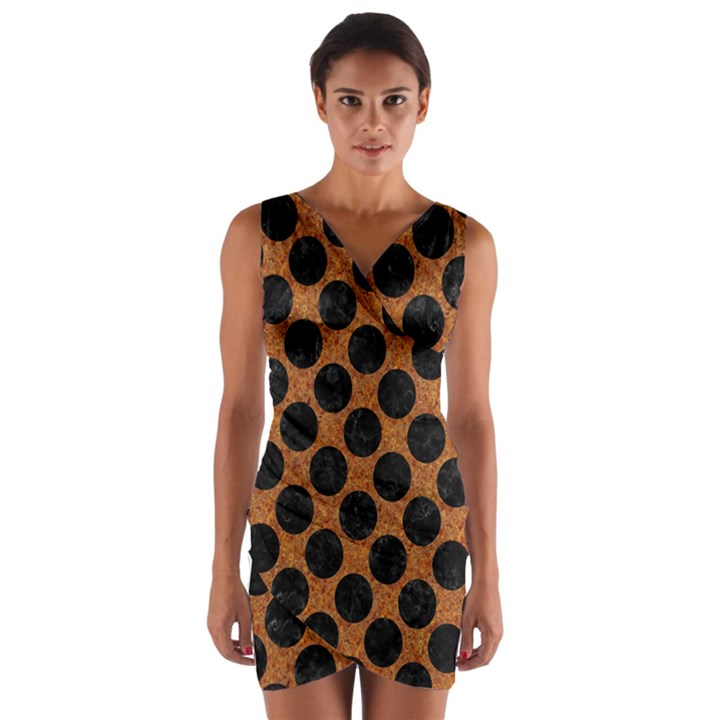 CIRCLES2 BLACK MARBLE & RUSTED METAL Wrap Front Bodycon Dress