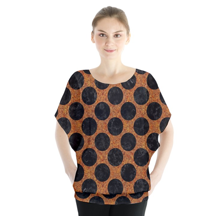 CIRCLES2 BLACK MARBLE & RUSTED METAL Blouse