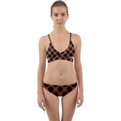 Circles2 Black Marble & Rusted Metal Wrap Around Bikini Set