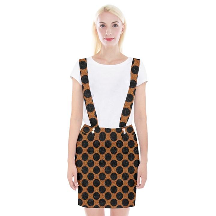 CIRCLES2 BLACK MARBLE & RUSTED METAL Braces Suspender Skirt