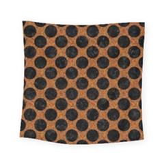 Circles2 Black Marble & Rusted Metal Square Tapestry (small)