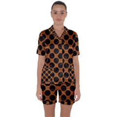 Circles2 Black Marble & Rusted Metal Satin Short Sleeve Pyjamas Set