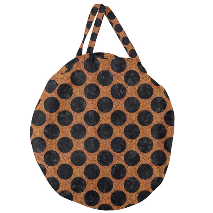 CIRCLES2 BLACK MARBLE & RUSTED METAL Giant Round Zipper Tote