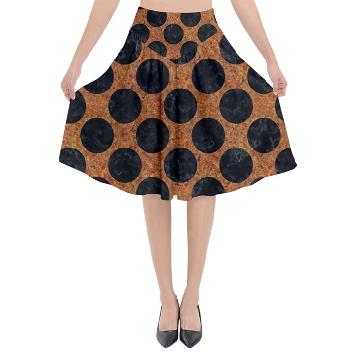 CIRCLES2 BLACK MARBLE & RUSTED METAL Flared Midi Skirt