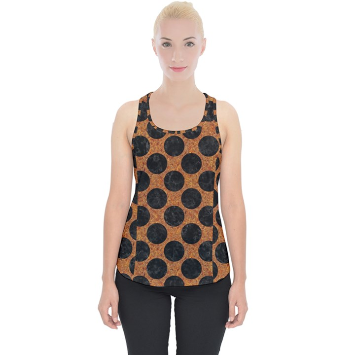 CIRCLES2 BLACK MARBLE & RUSTED METAL Piece Up Tank Top