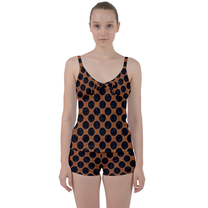 CIRCLES2 BLACK MARBLE & RUSTED METAL Tie Front Two Piece Tankini