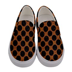 Circles2 Black Marble & Rusted Metal Women s Canvas Slip Ons