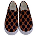 CIRCLES2 BLACK MARBLE & RUSTED METAL Kids  Canvas Slip Ons View1
