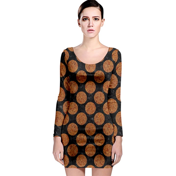 CIRCLES2 BLACK MARBLE & RUSTED METAL (R) Long Sleeve Bodycon Dress