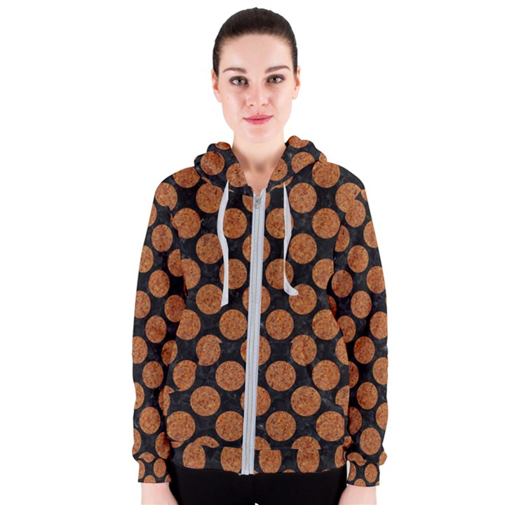 CIRCLES2 BLACK MARBLE & RUSTED METAL (R) Women s Zipper Hoodie
