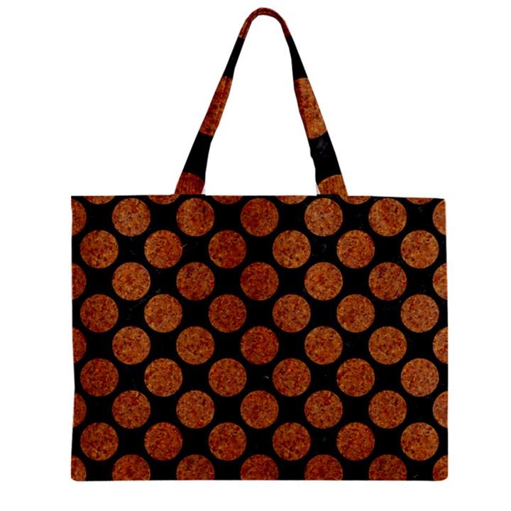 CIRCLES2 BLACK MARBLE & RUSTED METAL (R) Zipper Mini Tote Bag