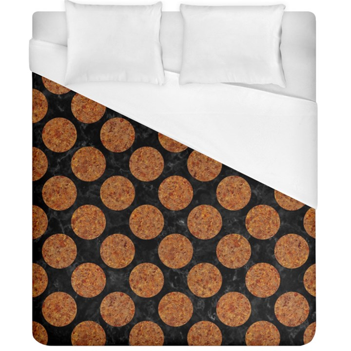 CIRCLES2 BLACK MARBLE & RUSTED METAL (R) Duvet Cover (California King Size)