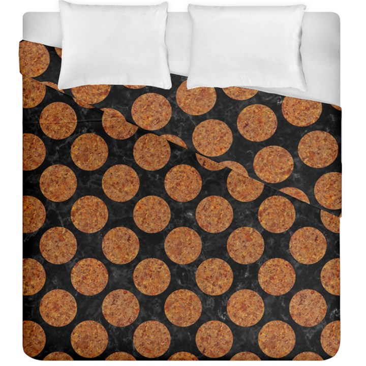 CIRCLES2 BLACK MARBLE & RUSTED METAL (R) Duvet Cover Double Side (King Size)