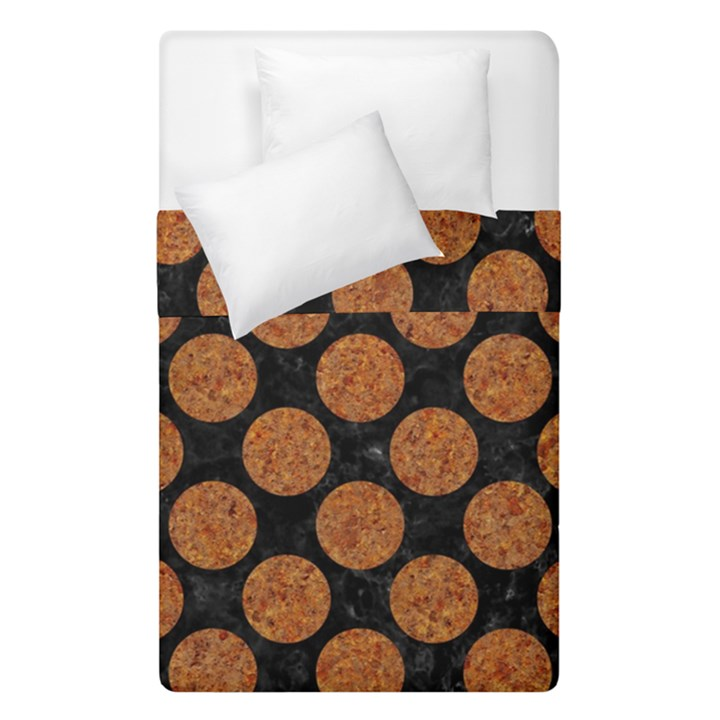 CIRCLES2 BLACK MARBLE & RUSTED METAL (R) Duvet Cover Double Side (Single Size)