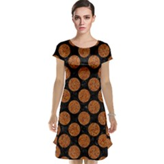 Circles2 Black Marble & Rusted Metal (r) Cap Sleeve Nightdress