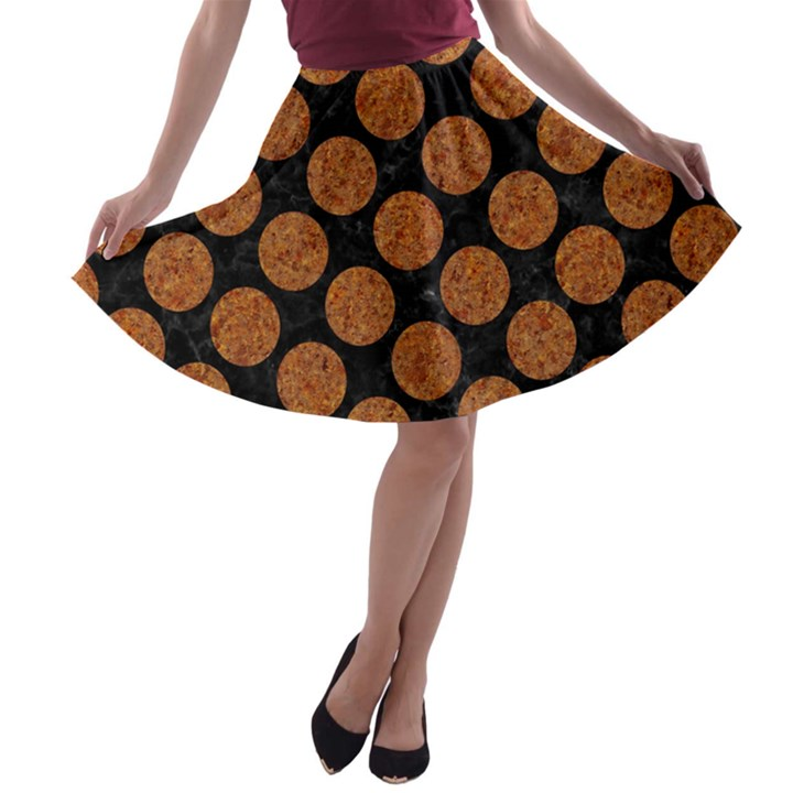 CIRCLES2 BLACK MARBLE & RUSTED METAL (R) A-line Skater Skirt