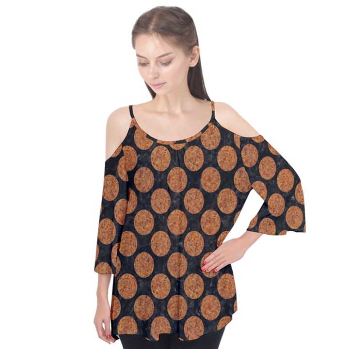 CIRCLES2 BLACK MARBLE & RUSTED METAL (R) Flutter Tees
