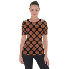 Circles2 Black Marble & Rusted Metal (r) Short Sleeve Top