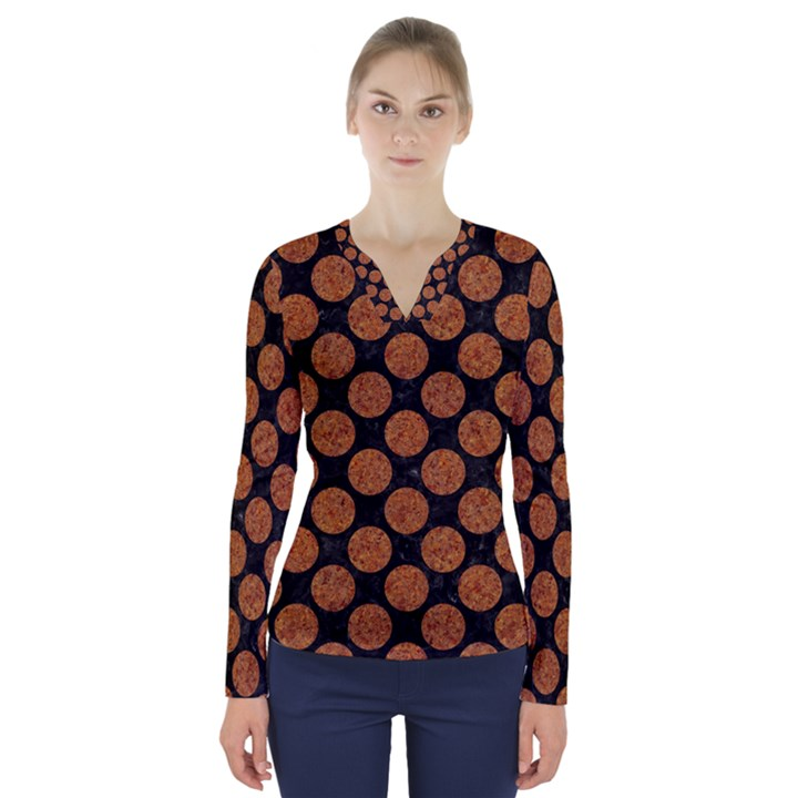 CIRCLES2 BLACK MARBLE & RUSTED METAL (R) V-Neck Long Sleeve Top