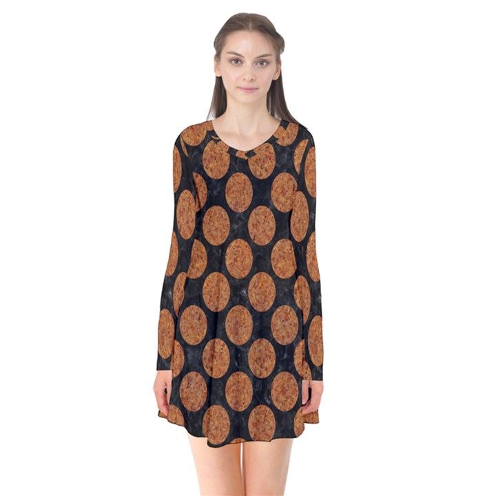 CIRCLES2 BLACK MARBLE & RUSTED METAL (R) Flare Dress