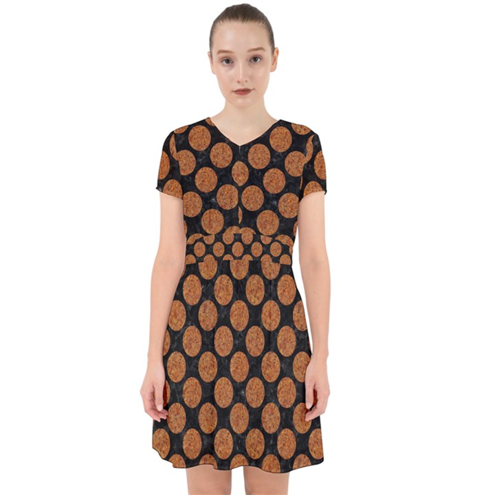 CIRCLES2 BLACK MARBLE & RUSTED METAL (R) Adorable in Chiffon Dress