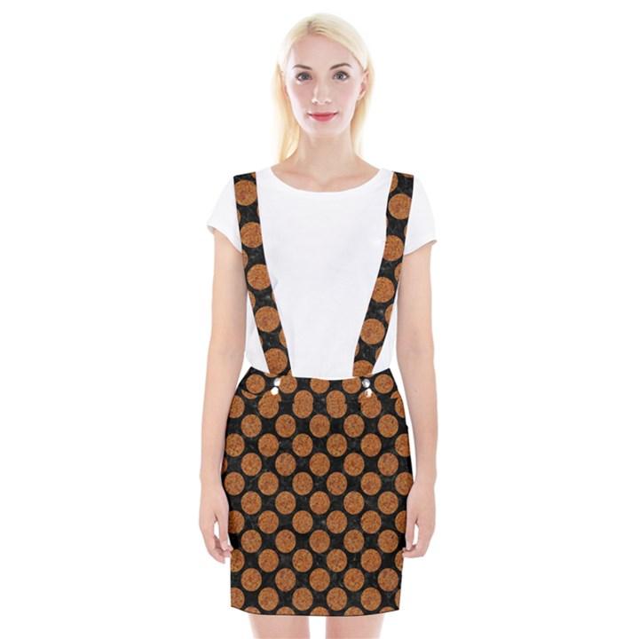 CIRCLES2 BLACK MARBLE & RUSTED METAL (R) Braces Suspender Skirt