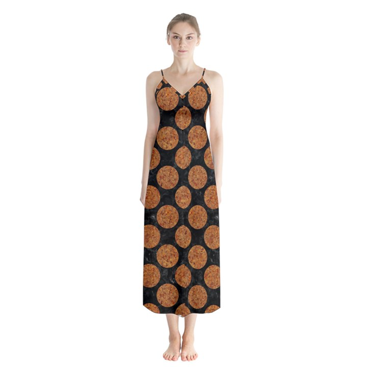 CIRCLES2 BLACK MARBLE & RUSTED METAL (R) Button Up Chiffon Maxi Dress