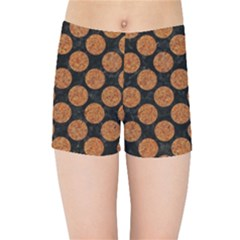 Circles2 Black Marble & Rusted Metal (r) Kids Sports Shorts