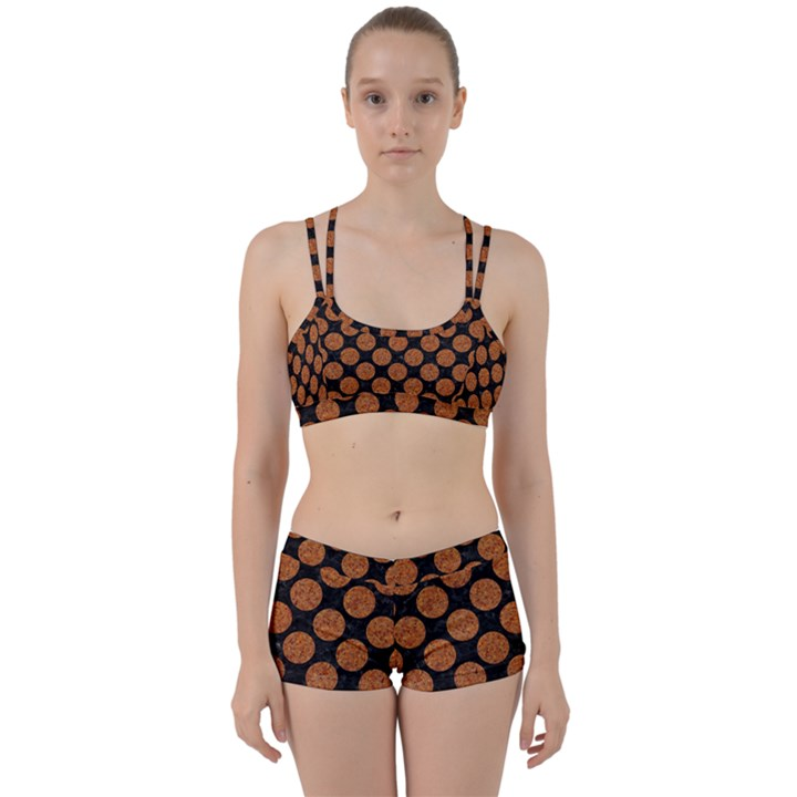 CIRCLES2 BLACK MARBLE & RUSTED METAL (R) Women s Sports Set