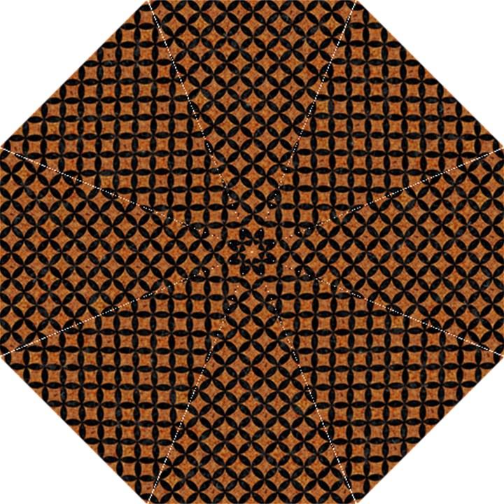 CIRCLES3 BLACK MARBLE & RUSTED METAL Hook Handle Umbrellas (Large)