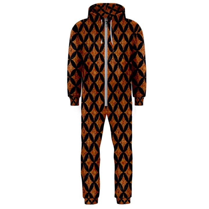 CIRCLES3 BLACK MARBLE & RUSTED METAL Hooded Jumpsuit (Men)