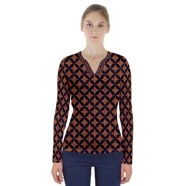 CIRCLES3 BLACK MARBLE & RUSTED METAL V-Neck Long Sleeve Top