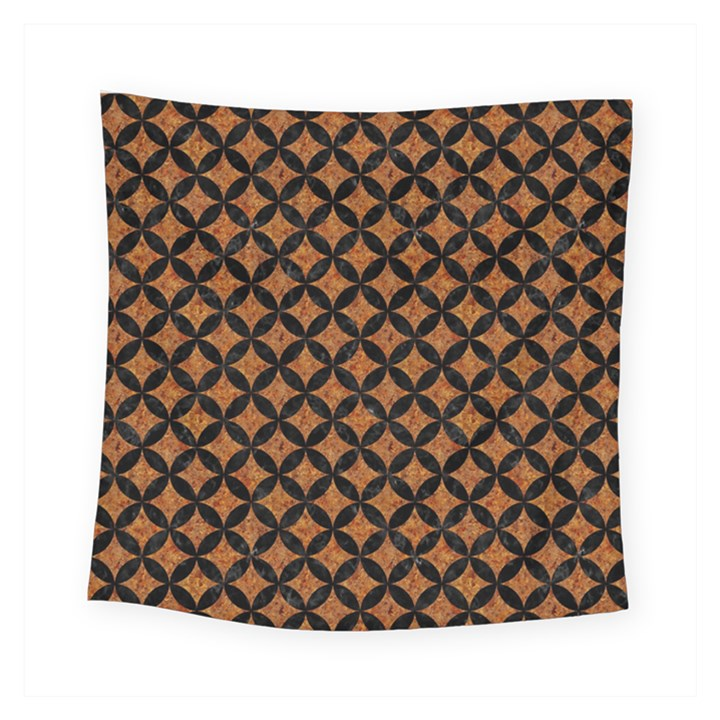 CIRCLES3 BLACK MARBLE & RUSTED METAL Square Tapestry (Small)