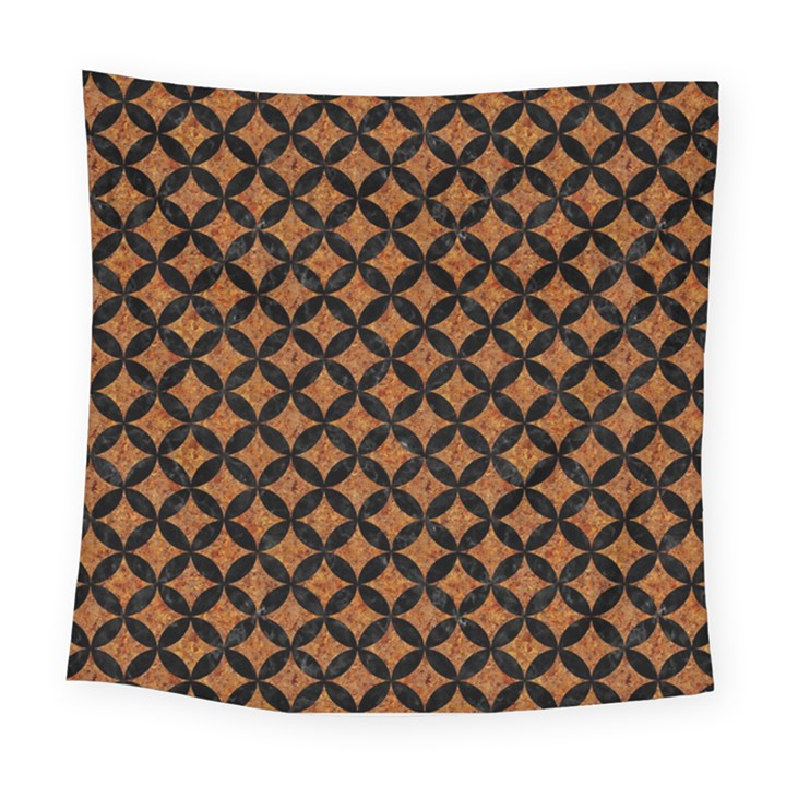 CIRCLES3 BLACK MARBLE & RUSTED METAL Square Tapestry (Large)