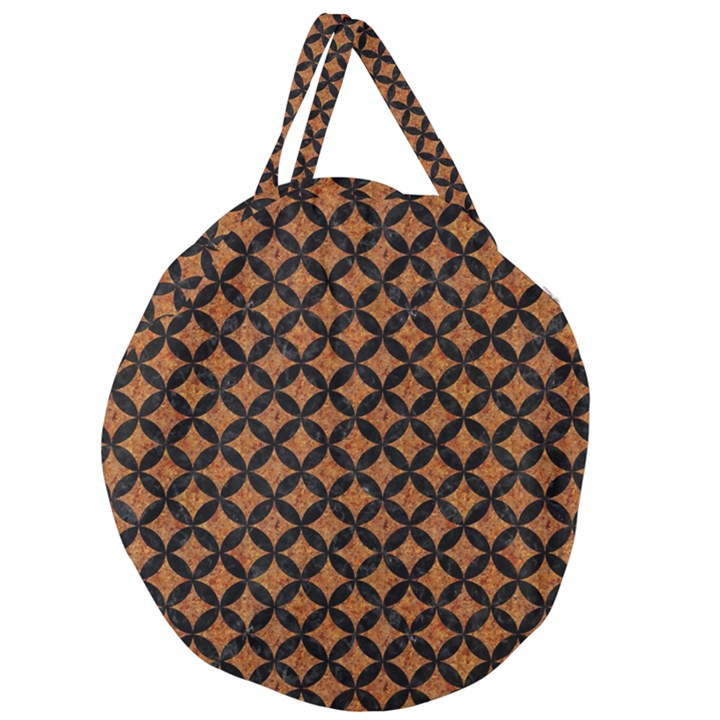 CIRCLES3 BLACK MARBLE & RUSTED METAL Giant Round Zipper Tote