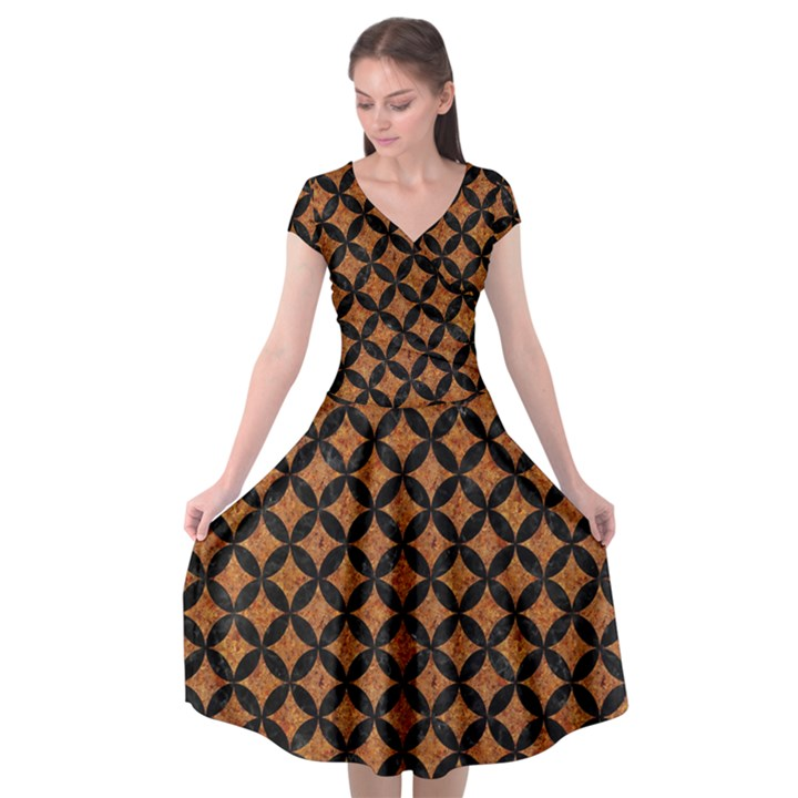 CIRCLES3 BLACK MARBLE & RUSTED METAL Cap Sleeve Wrap Front Dress