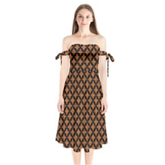 Circles3 Black Marble & Rusted Metal Shoulder Tie Bardot Midi Dress