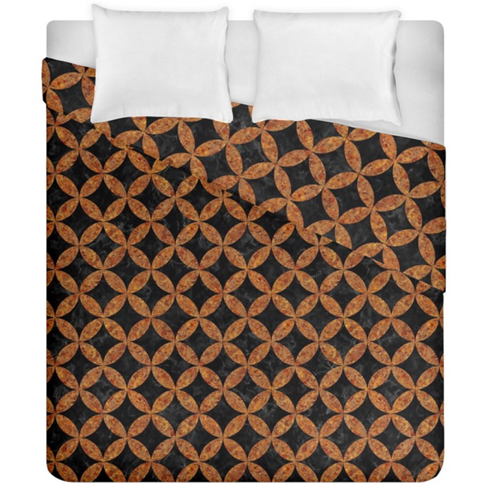 CIRCLES3 BLACK MARBLE & RUSTED METAL (R) Duvet Cover Double Side (California King Size)