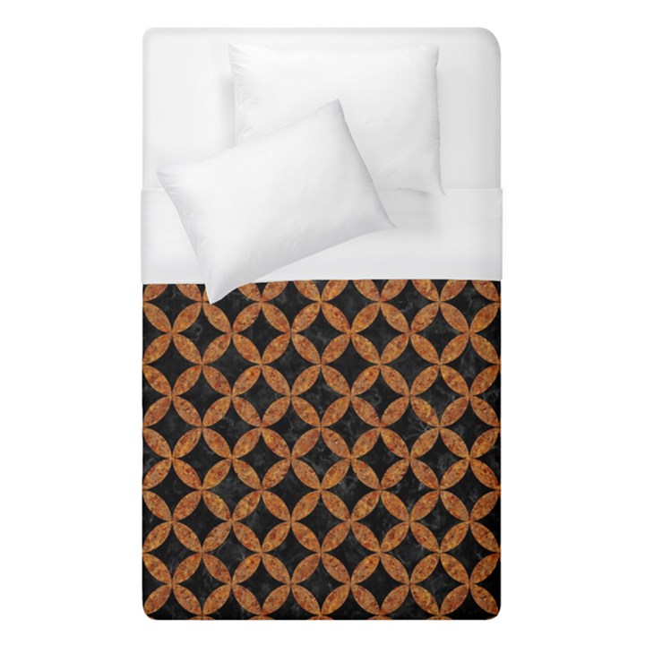 CIRCLES3 BLACK MARBLE & RUSTED METAL (R) Duvet Cover (Single Size)