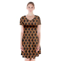 Circles3 Black Marble & Rusted Metal (r) Short Sleeve V Neck Flare Dress